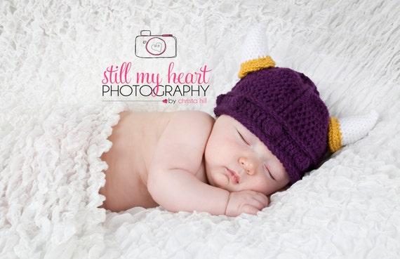 Baby Minnesota Vikings Hat and Diaper Cover Set 0-6 MO