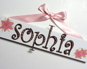 Baby Name Sign (5 Letters) with Hand Painted Flowers for Nursery or Child's Room, Curly Letters