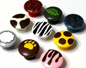 Animal Print Knobs or Nail Covers Set of 6, Custom and Hand Painted