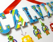 Robots Name Sign, 7 Letters - Hand Painted Personalized Name Plaque for Nursery, Bedroom