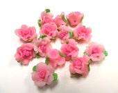 10 Fimo Polymer Pink Fuschia Flower Fimo Beads 17mm
