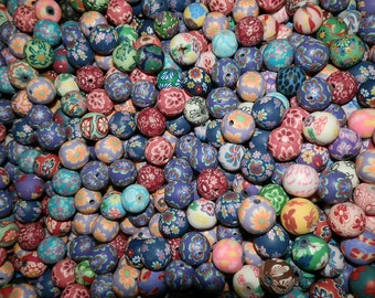 200 Fimo Polymer Clay Round Beads Variety Assorted Colors Flowers, Sun, animal 12mm