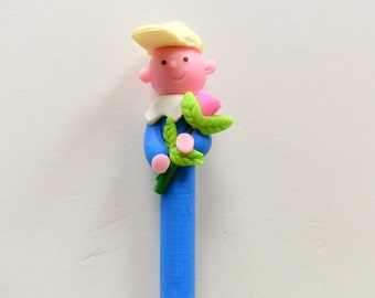 New Handmade Polymer Clay Pen Blue Boy