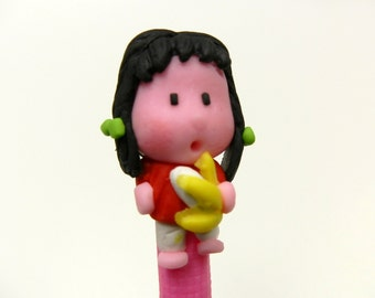 New Handmade Polymer Clay Pen Pink Girl