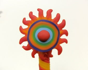 New Handmade Polymer Clay Pen Cartoon Rainbow Sun