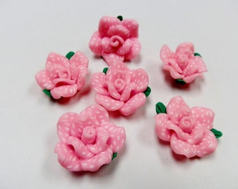 6 Fimo Polymer Clay Pink White Flower Fimo Beads 25mm