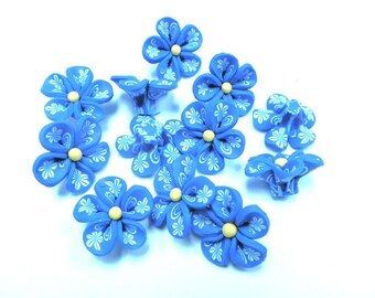 10 Fimo Polymer Clay Blue Flower Fimo Beads 25mm