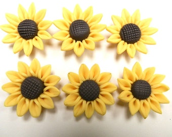 20 Fimo Polymer Clay Brown Yellow Sunflower Flower Fimo Beads 30mm