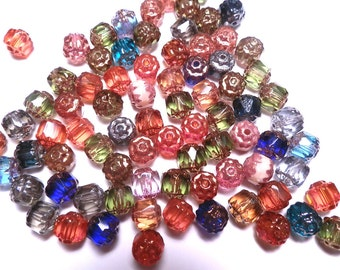 30 Czech Glass Beads Cathedral 6mm Assorted Colors
