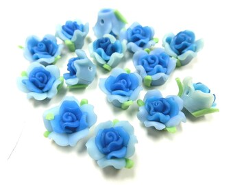 20 Fimo Polymer Light Blue Skyblue Flower Fimo Beads 17mm