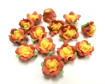 20 Fimo Polymer Yellow Brown Flower Fimo Beads 17mm