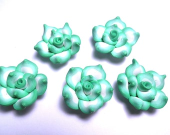10 Fimo Polymer Clay light green Flower Fimo Beads 25mm Style 2