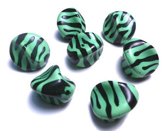 New Large 5 Zebra Twist Nugget Acrylic Beads 23mmx18mm Lime Green