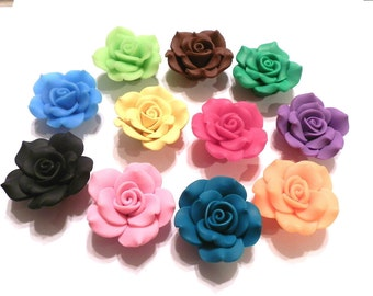 25 Fimo Polymer Clay Red Flower Rose Fimo Beads Green Yellow Blue Black Pink Orange Fuschia 40mm