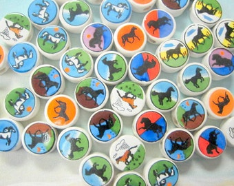 New 100 Colorful Ceramic Horse Designs Round Beads Variety