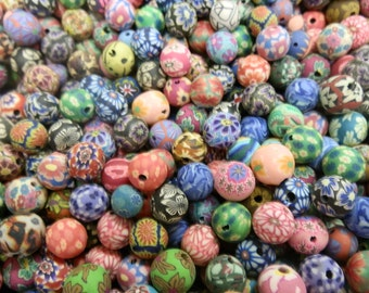 100 Fimo Polymer Clay Round Beads Variety Set 10mm