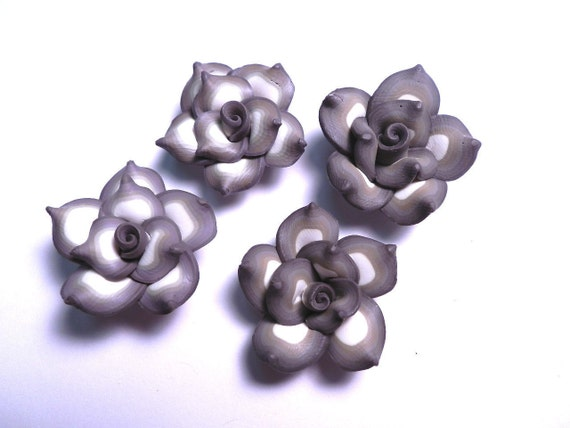 10 Fimo Polymer Clay Camel Brown Flower Fimo Beads 25mm Style 2