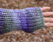 Pale Green and Purple Simple Knit Wrist Warmers/Fingerless Gloves