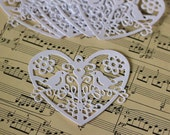 Heart and Birds white cardstock die cuts. Set of 7