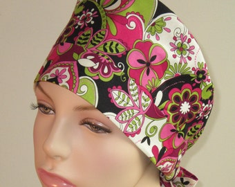 Scrub Hat - Pink Floral