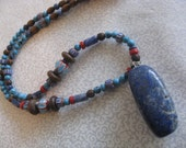 Tribal blue lapis beaded necklace