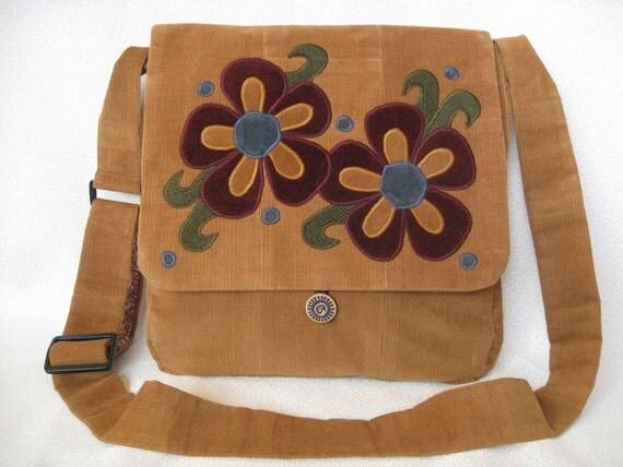 Boho chic golden beige with burgundy flowers corduroy messenger bag