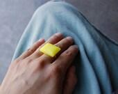 Lemon Rectangle Geometric Ring