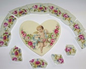 Set of Shabby Chic Broken China  Mosaic Tiles with Cherub Heart Focal