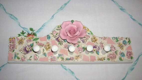 Pink Roses Broken China Mosaic Shabby Chic Display Hanger SALE.