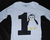 Penguin Shirt or Onesie - Number or Letter