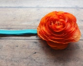 Turquoise and Orange Ranunculus flower headband...Baby Headband