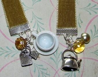 Tea Bookmark Velvet Ribbon Bookmark Tea Gift Book Mark Bookmarker Choose Your Ribbon Color