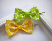 Lemon-Lime Hair Bow Bobby Pins -- Lime Green, Yellow Dots Bobby Pin Set
