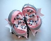 Panda Boutique Hair Bow -- Pink & Black Panda Layered Bow