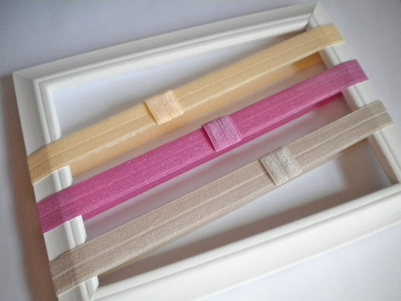 Interchangeable Elastic Headbands -- Yellow Creme, Hollywood Pink, Light Gold Shimmery Elastic