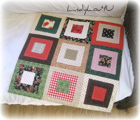 Pet Blanket - Pet Quilt - Mini Quilt - Pet Lover - Gladdy Paddy Original - Green Red Beige Tones - Ready to Ship