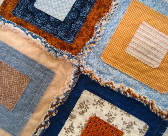 Pet Blanket - Pet Quilt - Mini Quilt - Home Decor - Gladdy Tatty Mini - Blueberry and Brown Tones - Ready to Ship