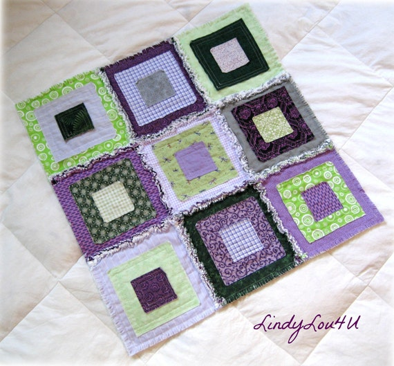 Pet Blanket - Pet Quilt - Home Decor - Pet Lover - Gladdy Tatty Original - Purple and Green Tones - Ready to Ship