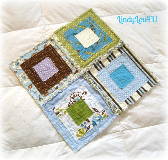 Pet Blanket - Pet Quilt - Mini Quilt - Home Decor - Gladdy Tatty Mini - Olive, Light Blue, Brown, Cream- Ready to Ship