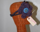 Crochet flower string headband