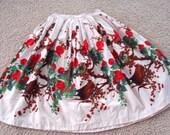 50s Orange Floral Swing Skirt