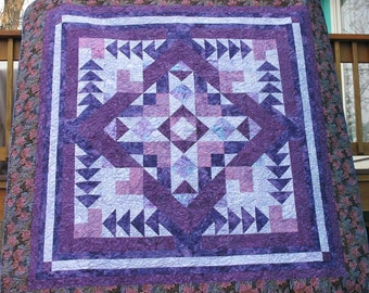 Queen Size Quilt Made in Shades of Purple