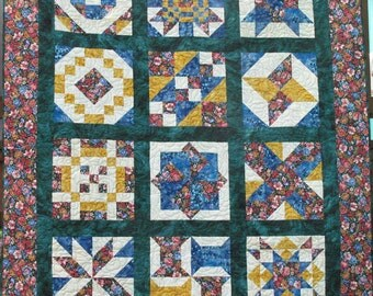 Twin/Lap Patchwork Quilt made in Bright Colors