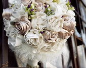 RESERVED for PixieChicago: Traditional Champagne & White Rose Couture Bridal Bouquet
