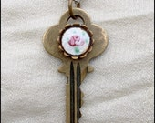 Guilloche Rose Key Pendant - Vintage Jewelry Redesign / Assembly / Collage