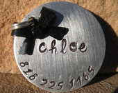The Chloe (#002) - Bow Pet ID Tag Dog Feminine Unique Handstamped