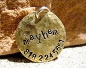 The Mayhem (#023)- Distressed Handstamped Pet ID Tag Brass Small Dog Cat