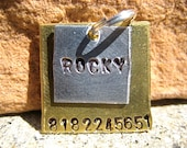 Cube Cuties Rocky (#068)- Square Pet ID Tag Handstamped Unique Layered Small Dogs Cats