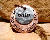 The Odin (#039) - Unique Handstamped Pet ID Tag Layered 2 Disc Small Dogs Cats