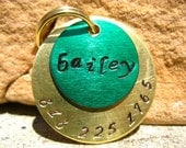 The Bailey (#070) - Unique Irish Green Gold Handstamped Pet ID Tag Layered 2 Disc Dog Tag